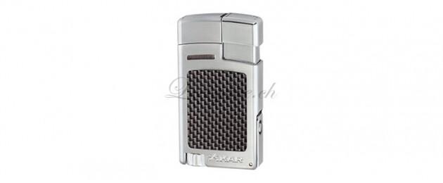 Briquet Xikar Forte Lighter Carbone Fibre Argent