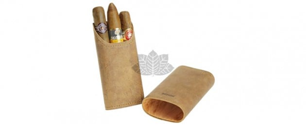 Adorini - Etui à cigare en cuir-Marron - 2-3 cigares